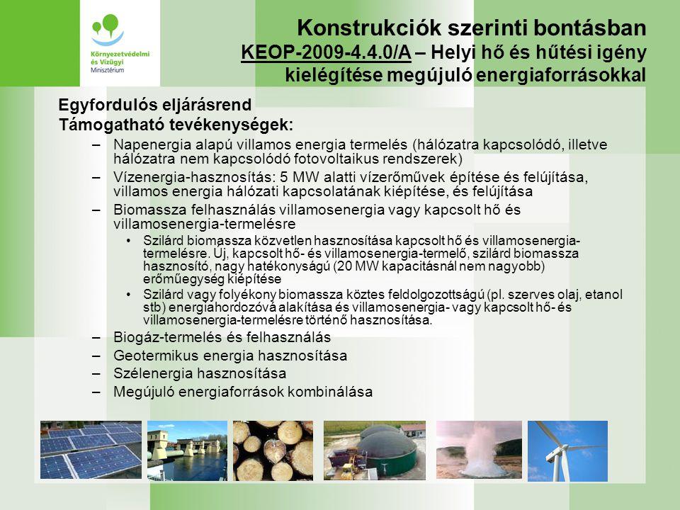 Konstrukciók szerinti bontásban KEOP-2009-4. 4
