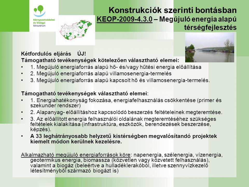 Konstrukciók szerinti bontásban KEOP-2009-4. 3