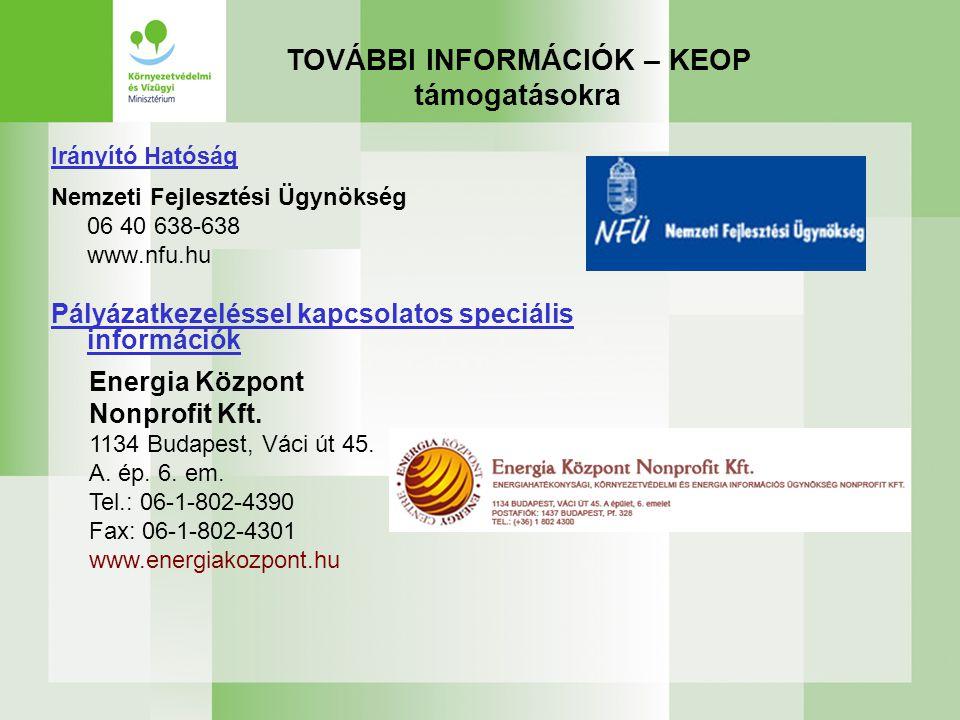 TOVÁBBI INFORMÁCIÓK – KEOP támogatásokra