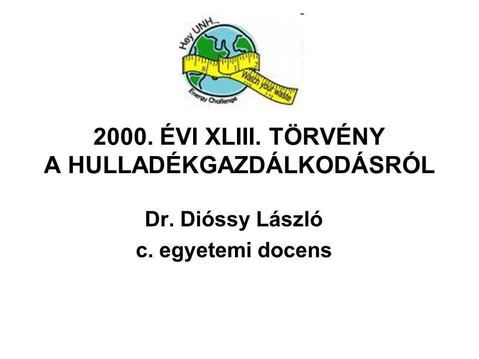 2000. ÉVI XLIII. TÖRVÉNY A HULLADÉKGAZDÁLKODÁSRÓL