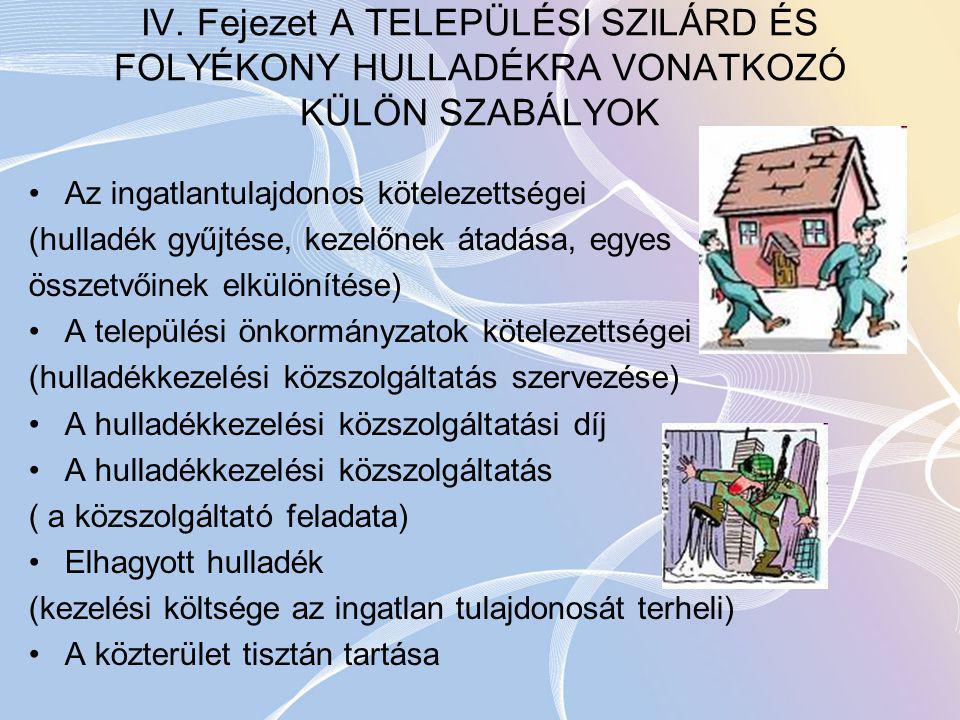 IV. Fejezet A TELEPÜLÉSI SZILÁRD ÉS FOLYÉKONY HULLADÉKRA VONATKOZÓ KÜLÖN SZABÁLYOK