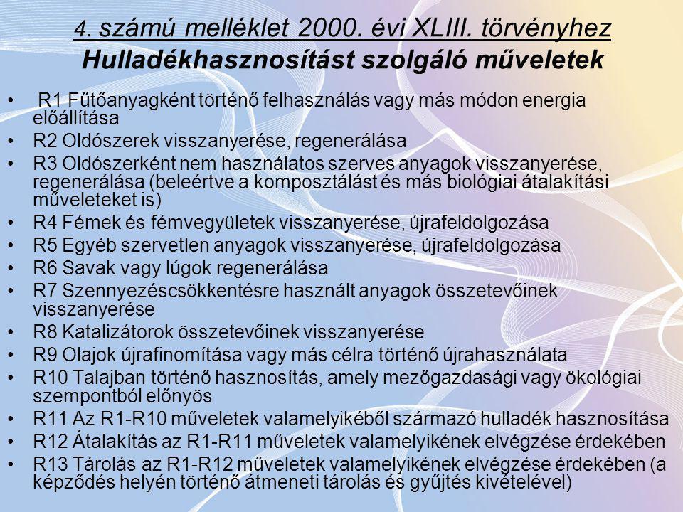 4. számú melléklet 2000. évi XLIII