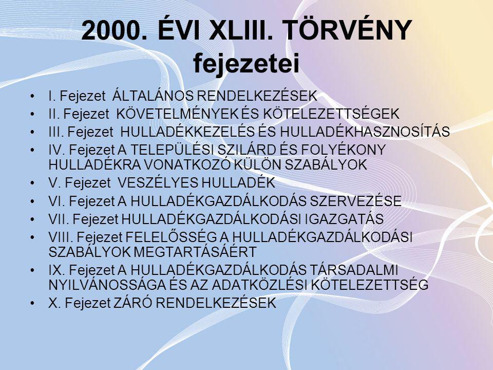 2000. ÉVI XLIII. TÖRVÉNY fejezetei
