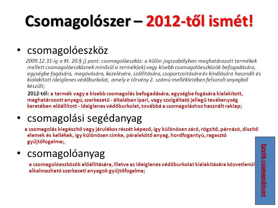 Csomagolószer – 2012-től ismét!