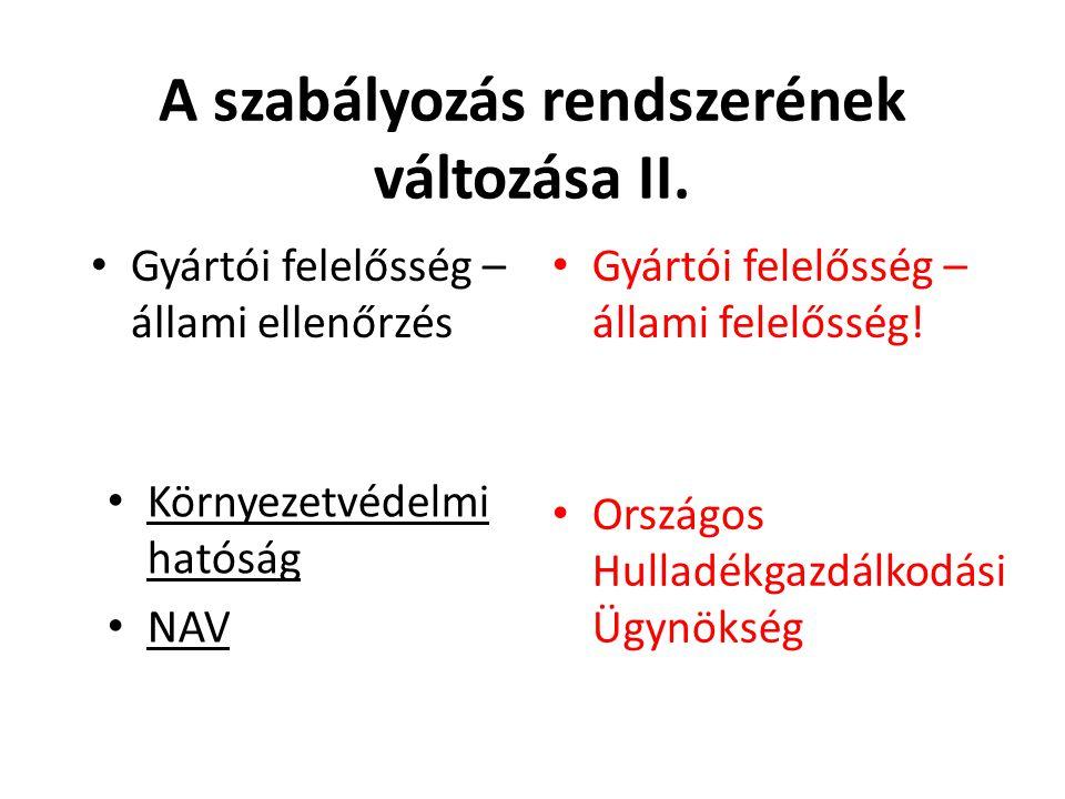 A szabályozás rendszerének változása II.