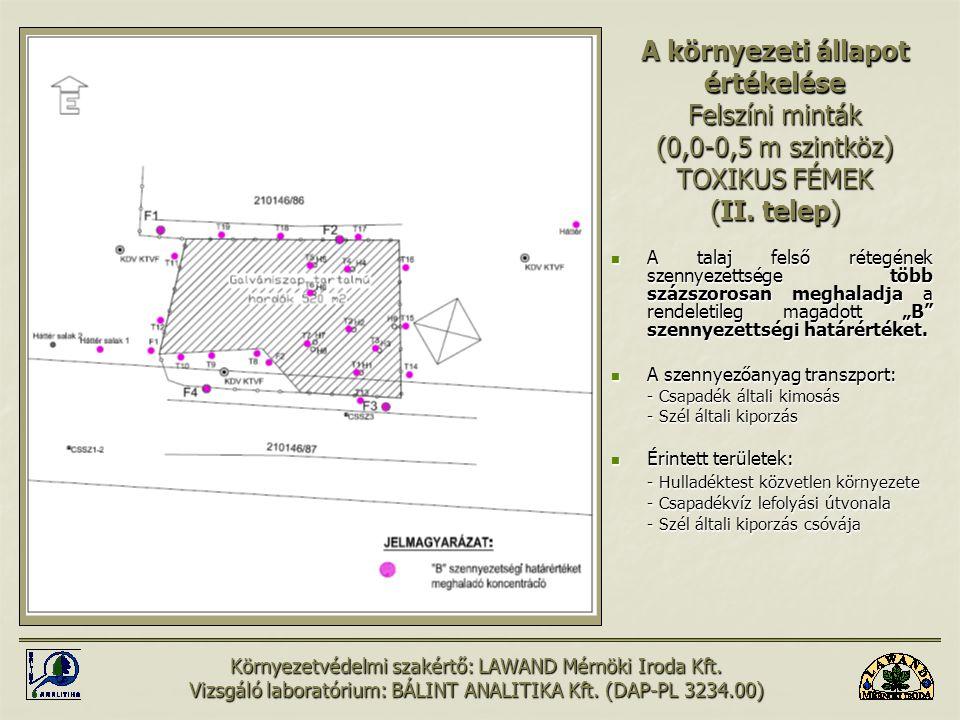 A környezeti állapot értékelése Felszíni minták (0,0-0,5 m szintköz) TOXIKUS FÉMEK (II. telep)