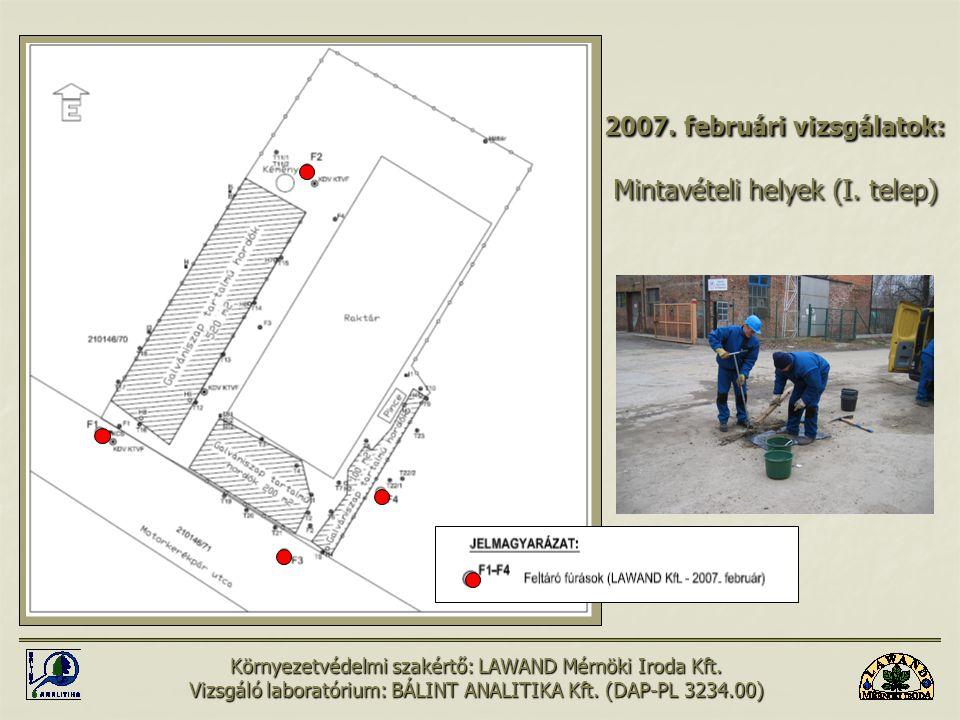 2007. februári vizsgálatok: Mintavételi helyek (I. telep)