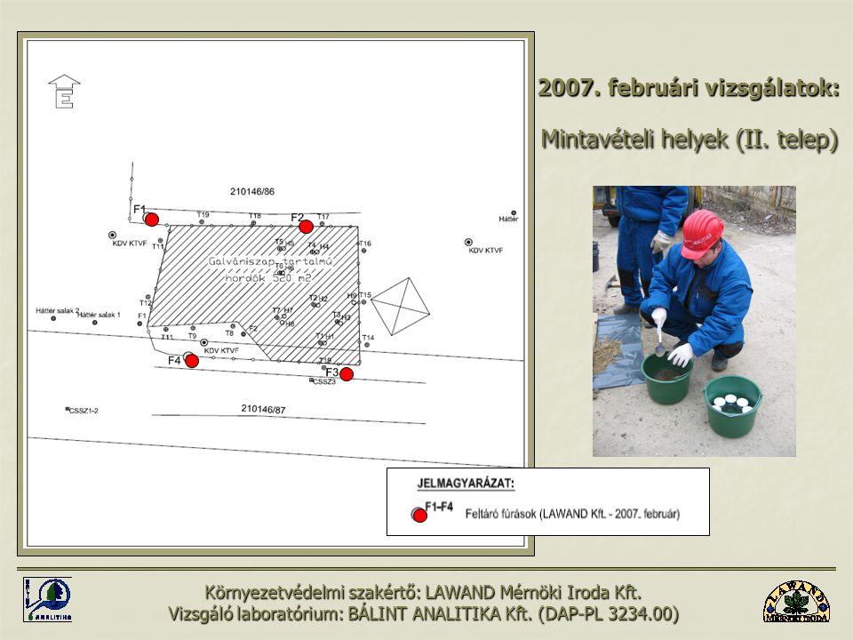 2007. februári vizsgálatok: Mintavételi helyek (II. telep)