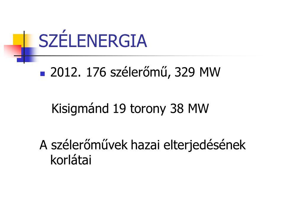 SZÉLENERGIA 2012. 176 szélerőmű, 329 MW Kisigmánd 19 torony 38 MW