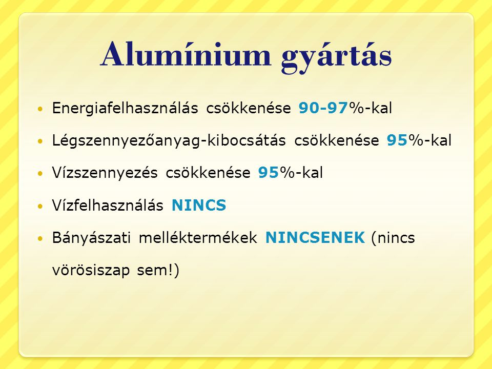 Alumínium gyártás Energiafelhasználás csökkenése 90-97%-kal