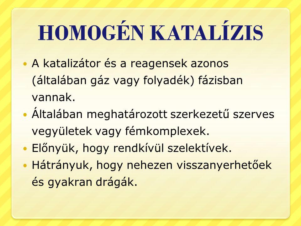 HOMOGÉN KATALÍZIS A katalizátor és a reagensek azonos (általában gáz vagy folyadék) fázisban vannak.