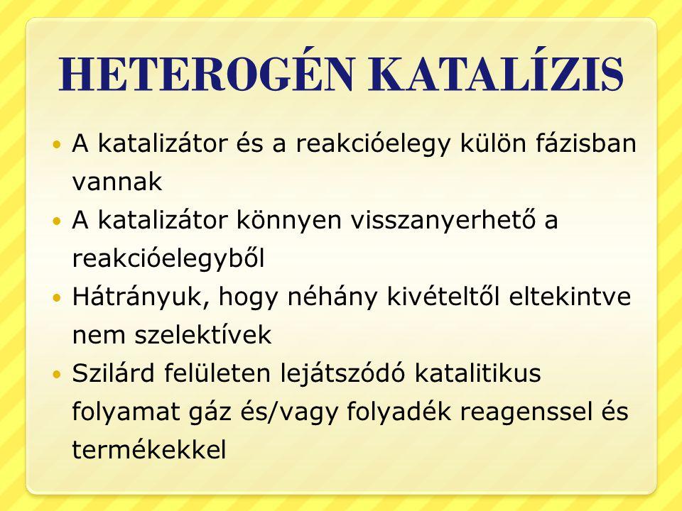 HETEROGÉN KATALÍZIS A katalizátor és a reakcióelegy külön fázisban vannak. A katalizátor könnyen visszanyerhető a reakcióelegyből.