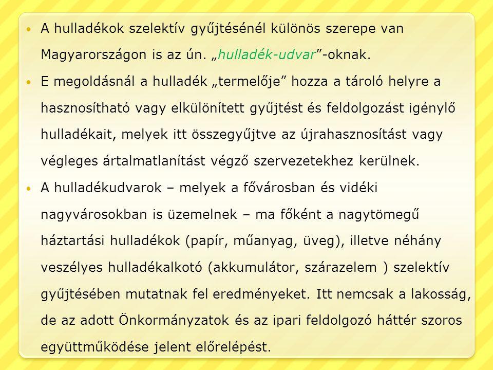 """A hulladékok szelektív gyűjtésénél különös szerepe van Magyarországon is az ún. """"hulladék-udvar -oknak."""
