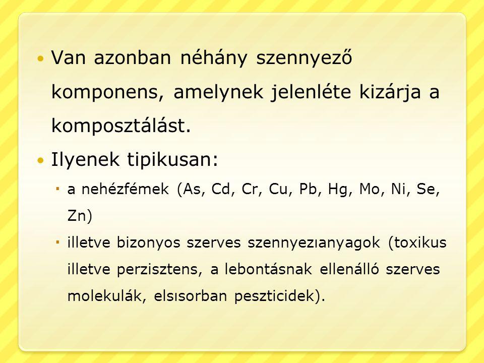 Van azonban néhány szennyező komponens, amelynek jelenléte kizárja a komposztálást.