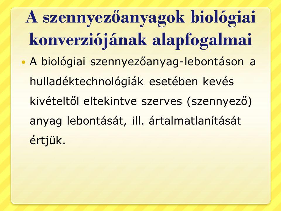 A szennyezőanyagok biológiai konverziójának alapfogalmai