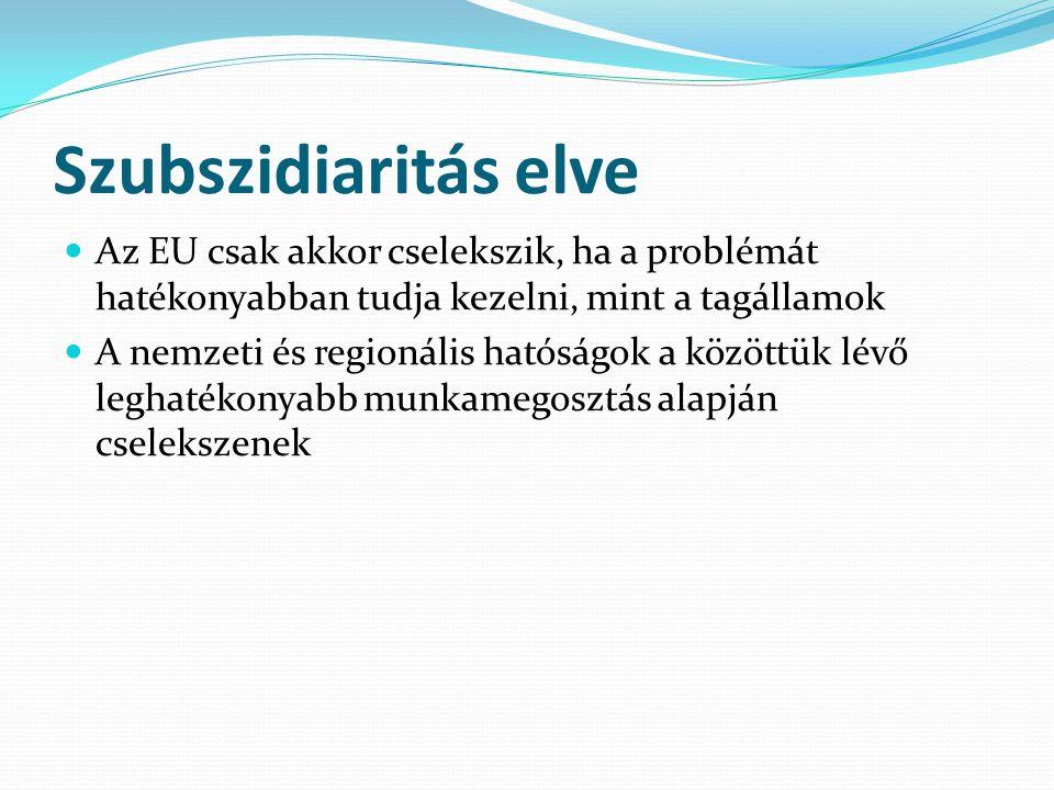 Szubszidiaritás elve Az EU csak akkor cselekszik, ha a problémát hatékonyabban tudja kezelni, mint a tagállamok.