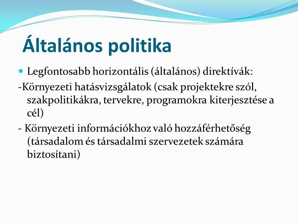 Általános politika Legfontosabb horizontális (általános) direktívák: