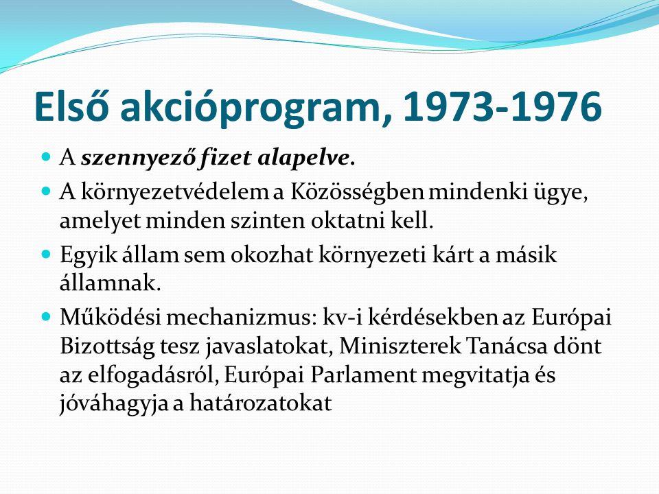 Első akcióprogram, 1973-1976 A szennyező fizet alapelve.