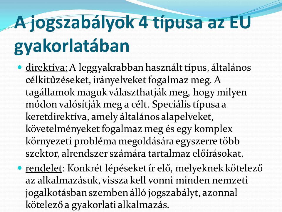 A jogszabályok 4 típusa az EU gyakorlatában