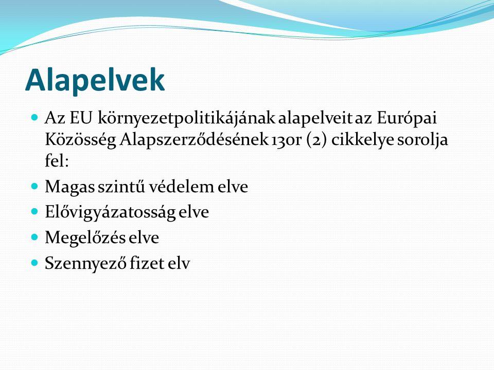 Alapelvek Az EU környezetpolitikájának alapelveit az Európai Közösség Alapszerződésének 130r (2) cikkelye sorolja fel: