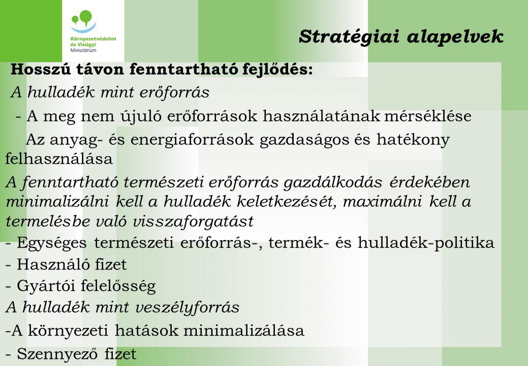 Stratégiai alapelvek Hosszú távon fenntartható fejlődés: