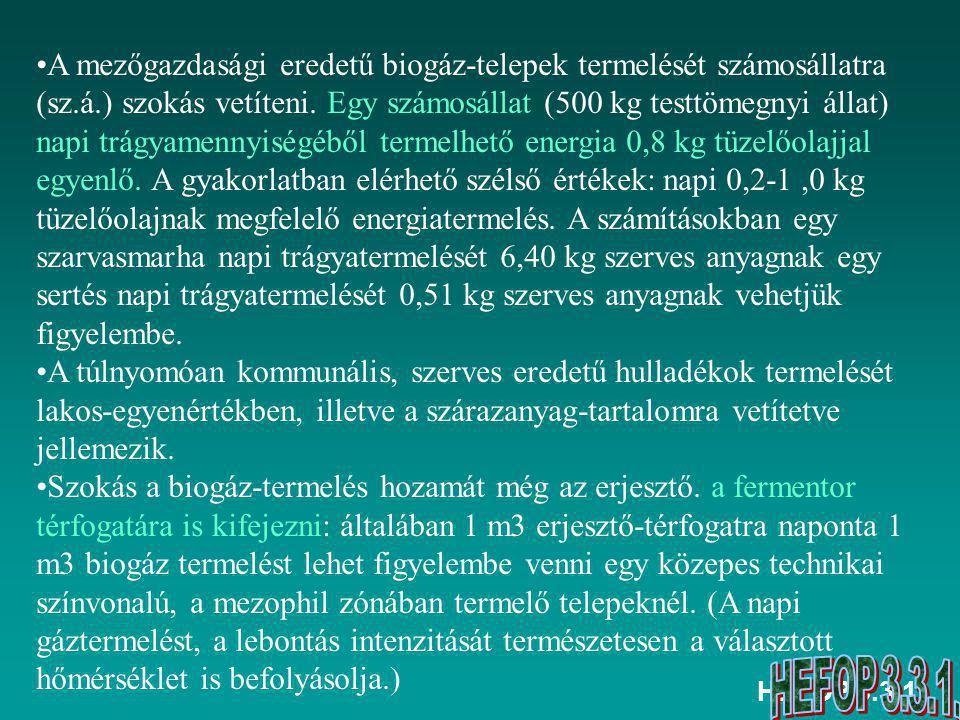 A mezőgazdasági eredetű biogáz-telepek termelését számosállatra (sz. á