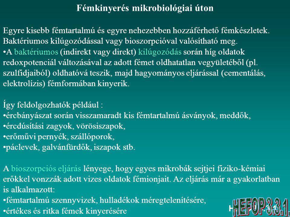 Fémkinyerés mikrobiológiai úton