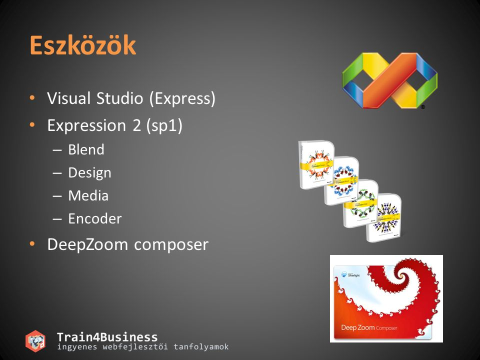 Eszközök Visual Studio (Express) Expression 2 (sp1) DeepZoom composer