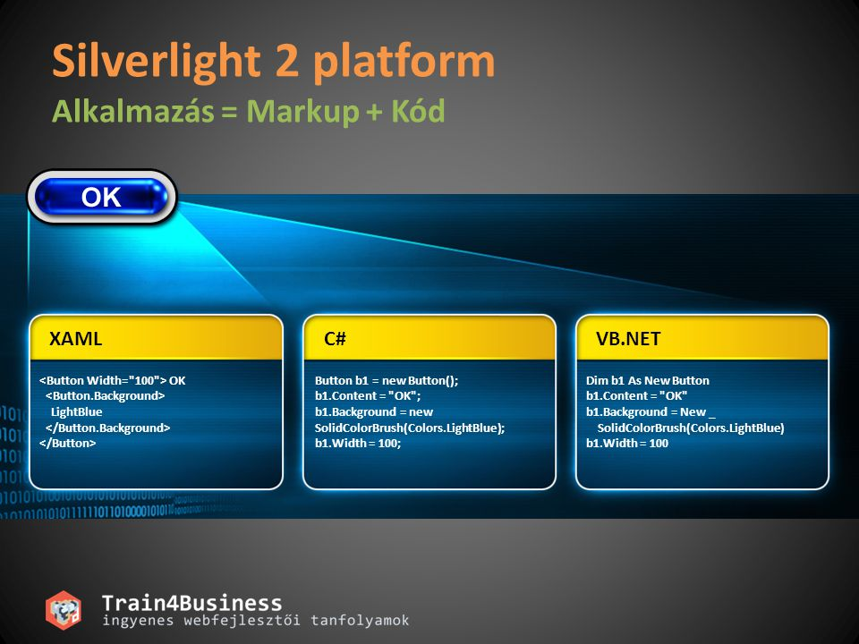 Silverlight 2 platform Alkalmazás = Markup + Kód