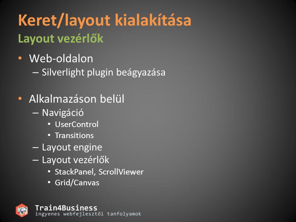 Keret/layout kialakítása Layout vezérlők