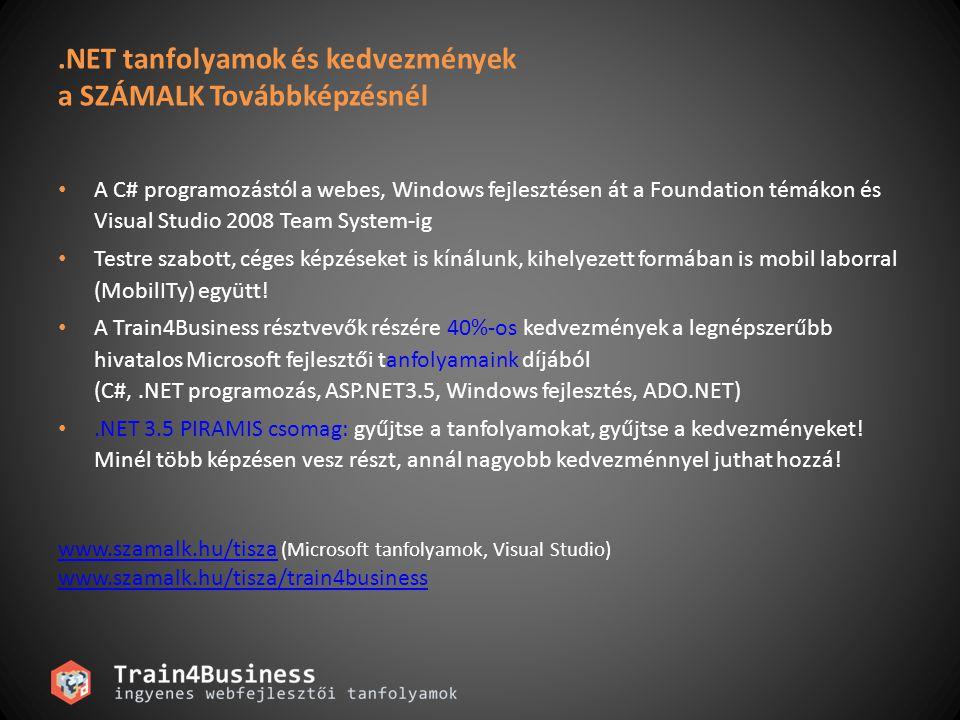.NET tanfolyamok és kedvezmények a SZÁMALK Továbbképzésnél