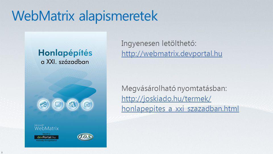 WebMatrix alapismeretek