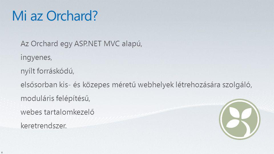 Mi az Orchard Az Orchard egy ASP.NET MVC alapú, ingyenes,