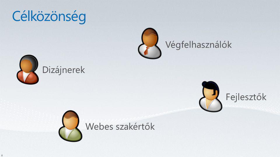 Célközönség Végfelhasználók Dizájnerek Fejlesztők Webes szakértők