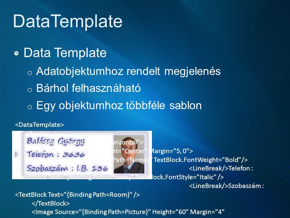 DataTemplate Data Template Adatobjektumhoz rendelt megjelenés