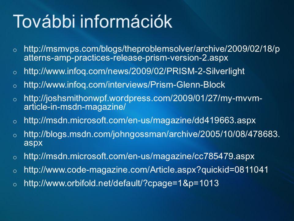 További információk http://msmvps.com/blogs/theproblemsolver/archive/2009/02/18/pat terns-amp-practices-release-prism-version-2.aspx.