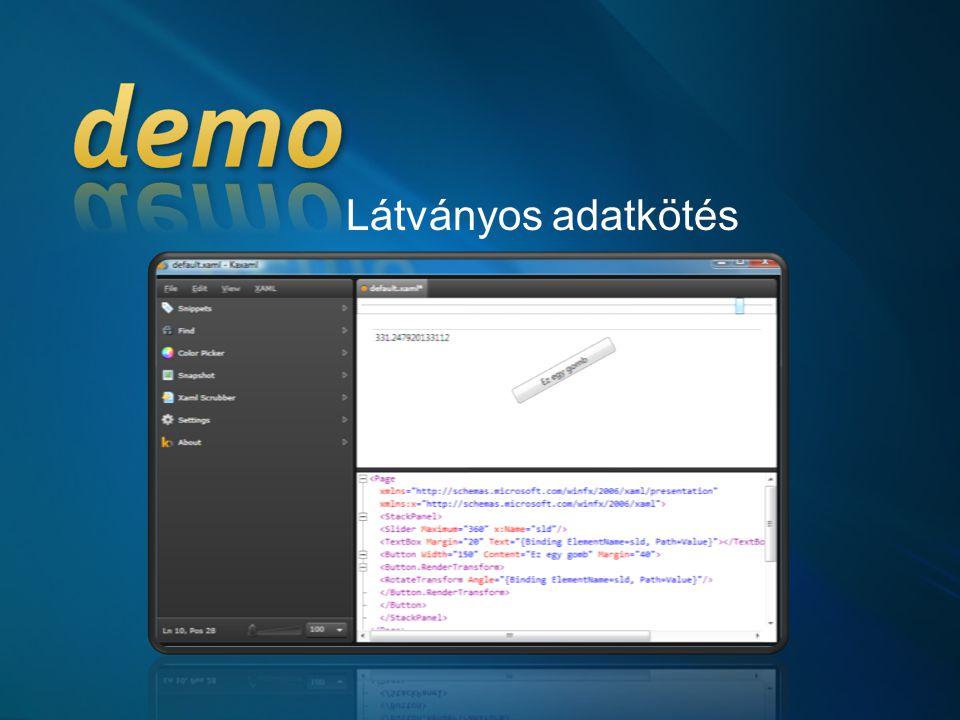 Látványos adatkötés KAXAML binding Slider to textbox üres lapról