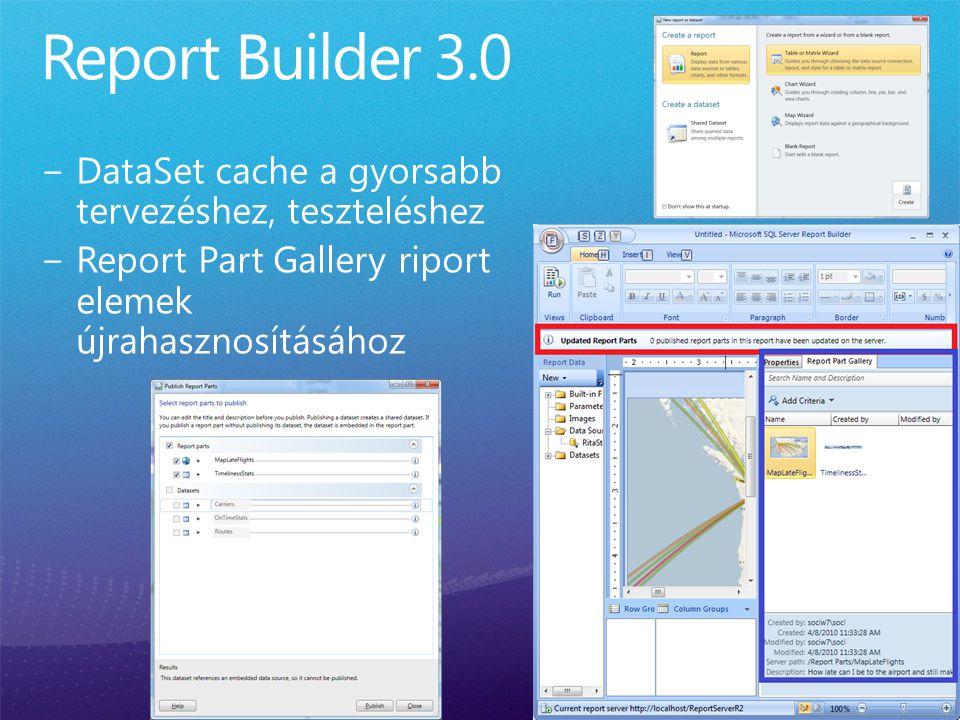 Report Builder 3.0 DataSet cache a gyorsabb tervezéshez, teszteléshez