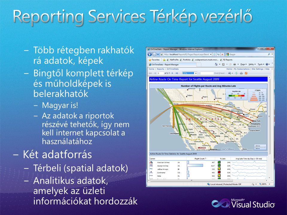 Reporting Services Térkép vezérlő