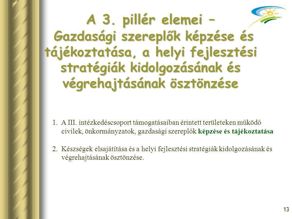 A 3. pillér elemei – Gazdasági szereplők képzése és tájékoztatása, a helyi fejlesztési stratégiák kidolgozásának és végrehajtásának ösztönzése