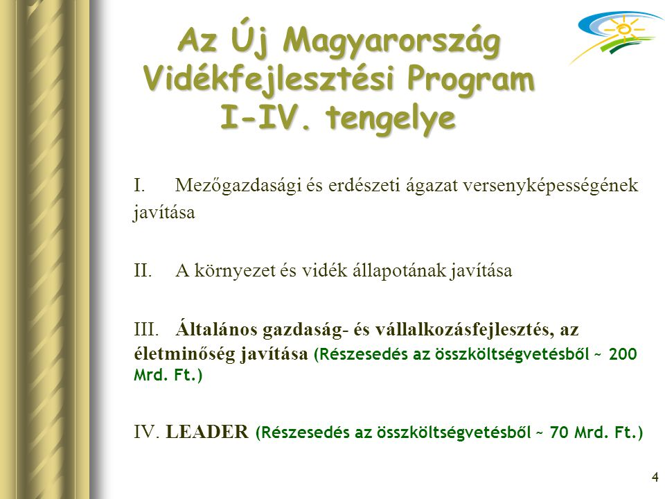 Az Új Magyarország Vidékfejlesztési Program I-IV. tengelye