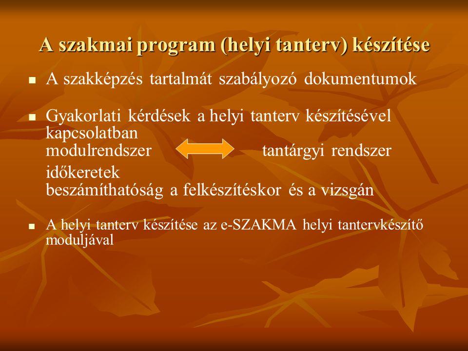 A szakmai program (helyi tanterv) készítése