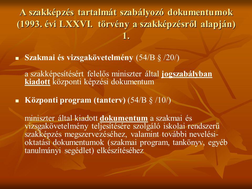 A szakképzés tartalmát szabályozó dokumentumok (1993. évi LXXVI