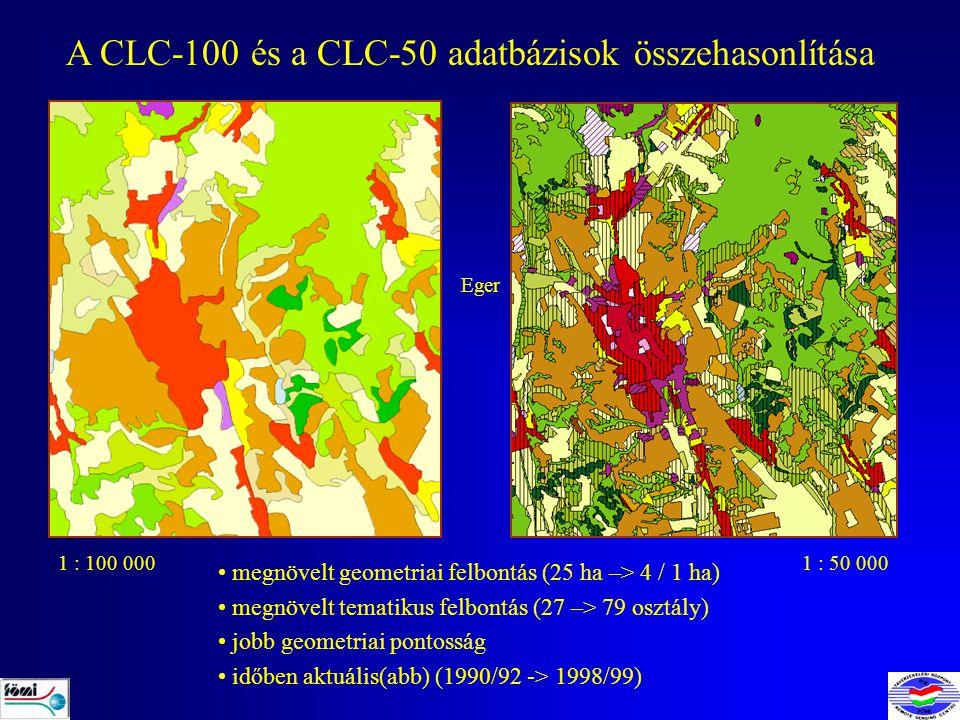 A CLC-100 és a CLC-50 adatbázisok összehasonlítása