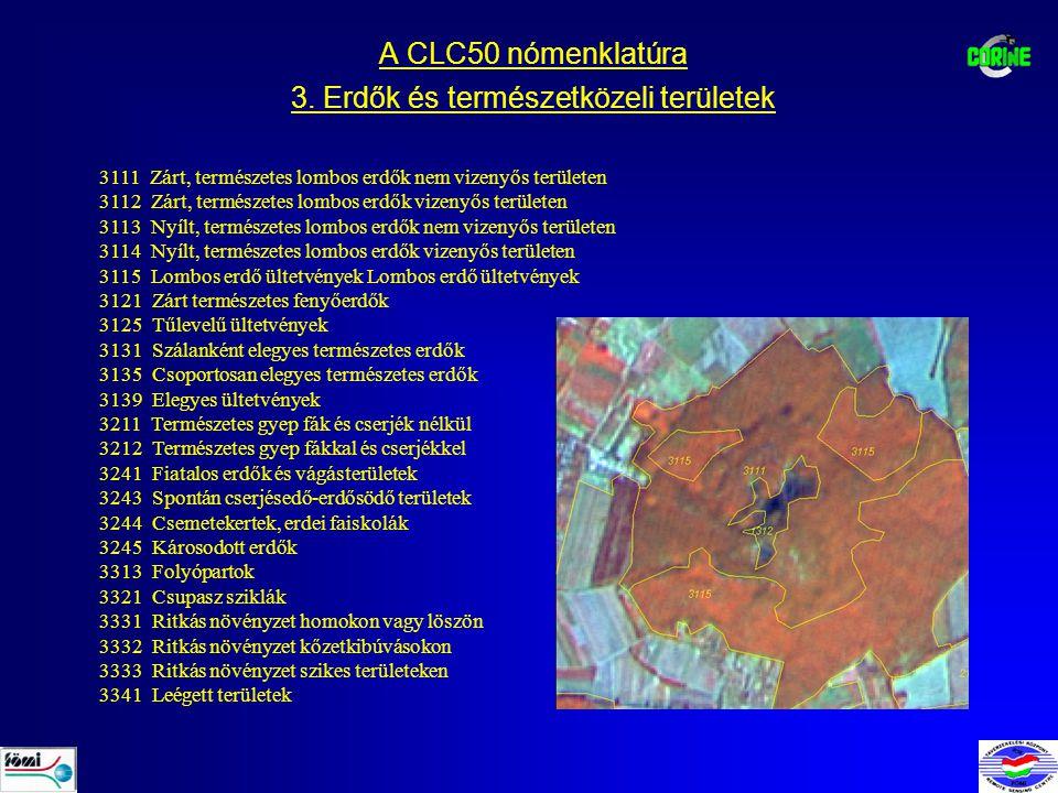 A CLC50 nómenklatúra 3. Erdők és természetközeli területek