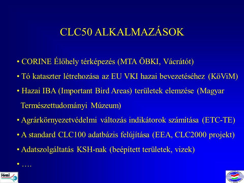 CLC50 ALKALMAZÁSOK CORINE Élőhely térképezés (MTA ÖBKI, Vácrátót)