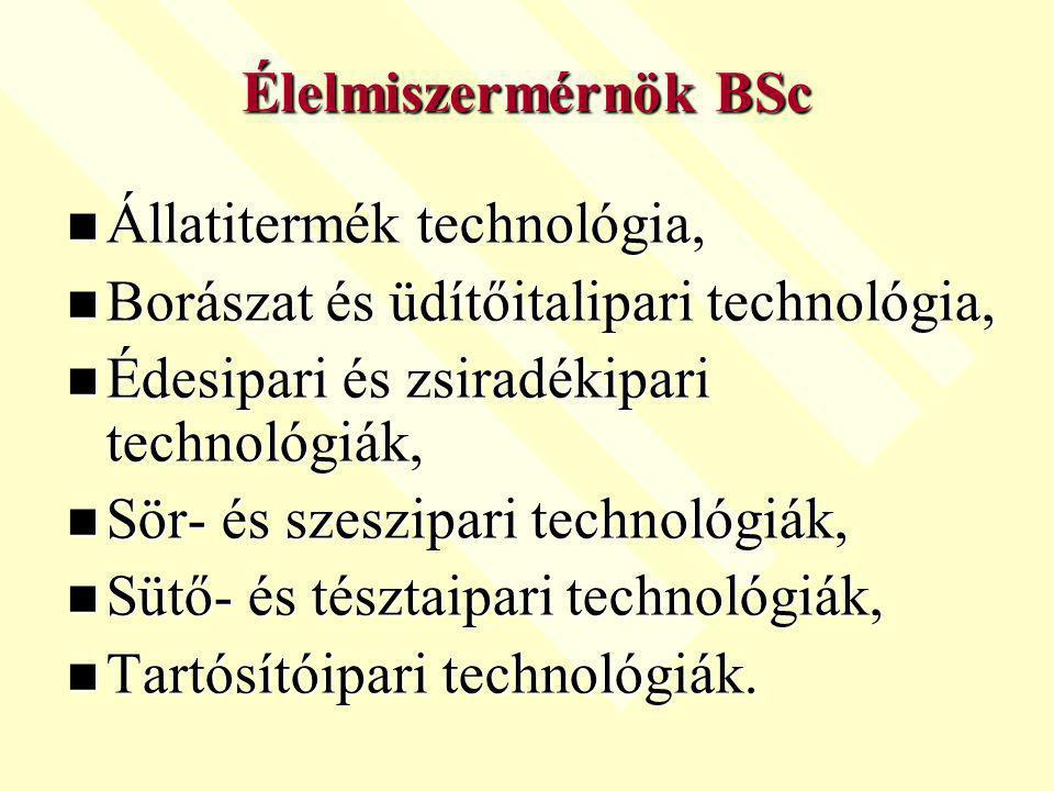 Élelmiszermérnök BSc Állatitermék technológia, Borászat és üdítőitalipari technológia, Édesipari és zsiradékipari technológiák,