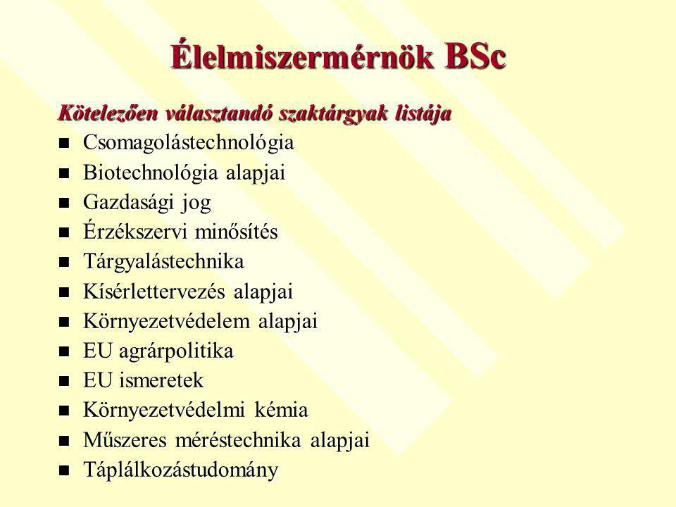 Élelmiszermérnök BSc Kötelezően választandó szaktárgyak listája