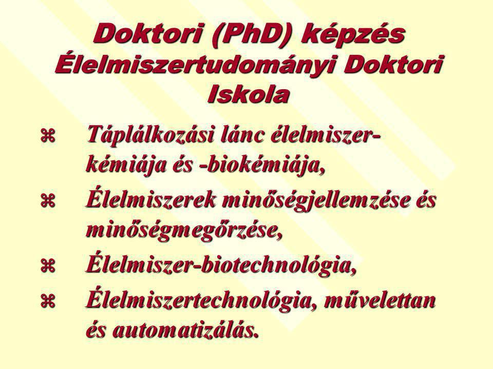 Doktori (PhD) képzés Élelmiszertudományi Doktori Iskola