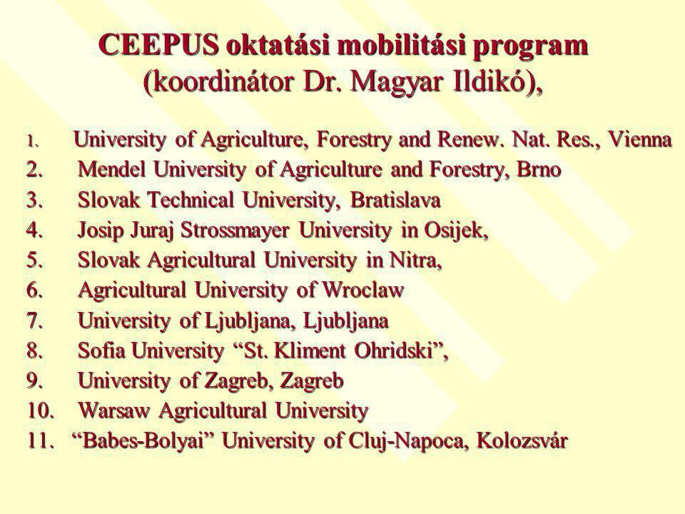 CEEPUS oktatási mobilitási program (koordinátor Dr. Magyar Ildikó),